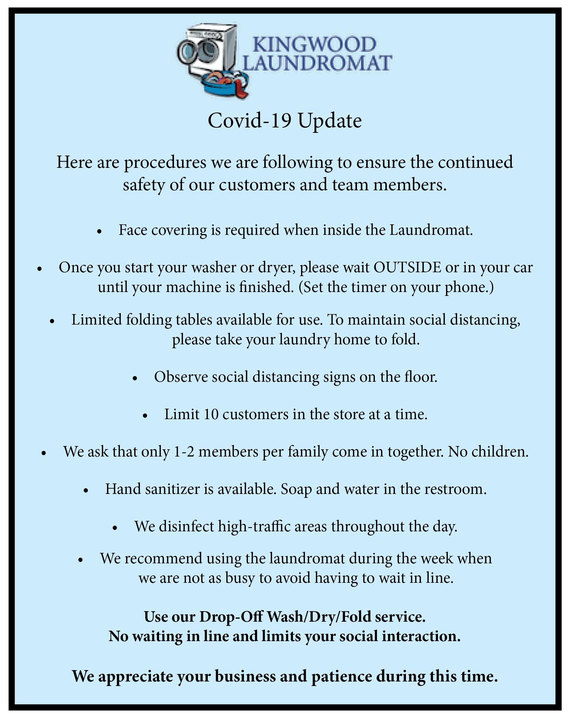 COVID-19 Guidelines Kingwood Laundromat